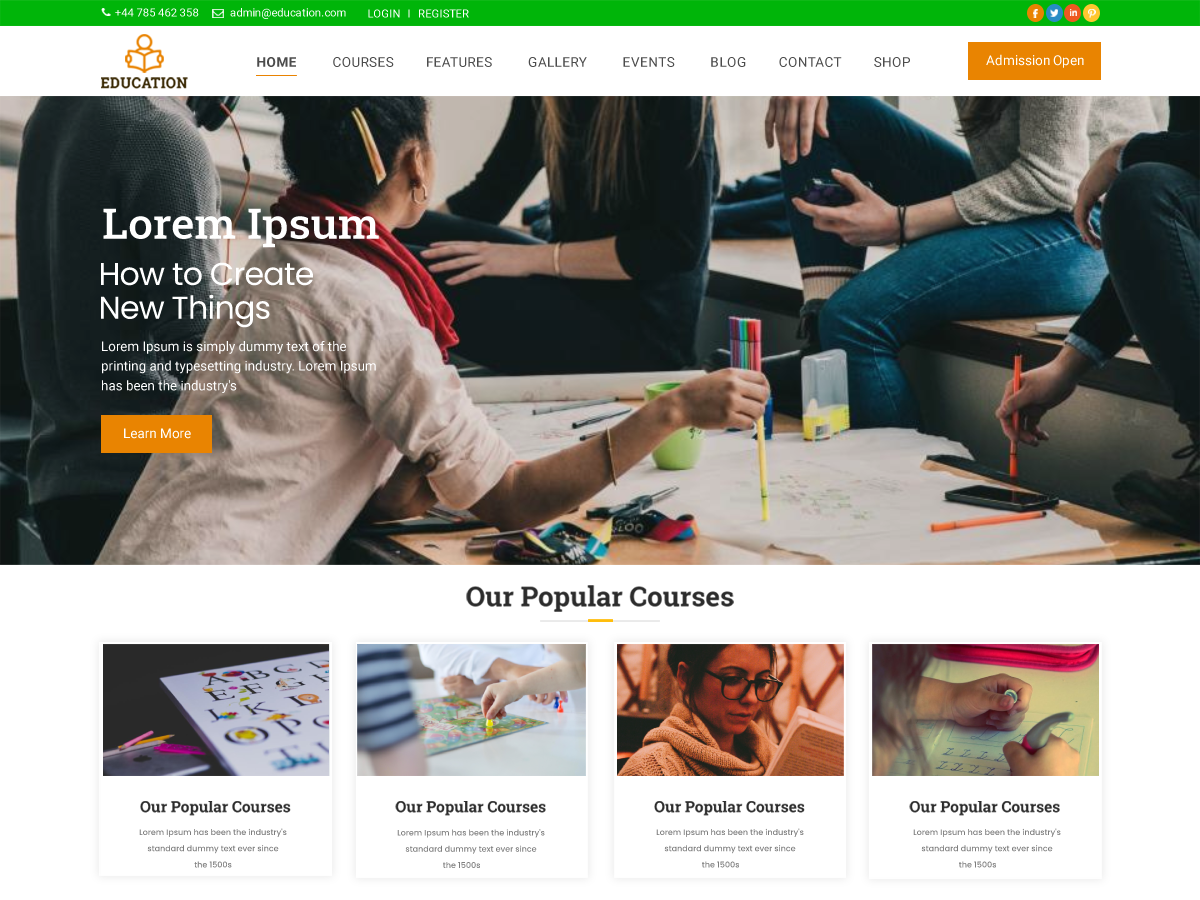 free-minimal-education-wordpress-theme