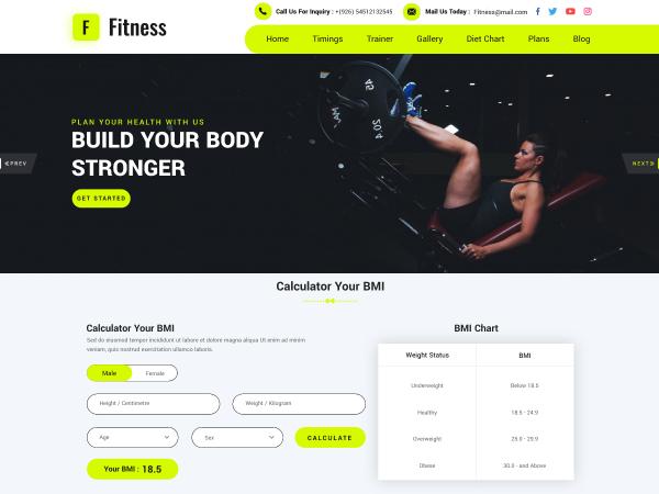 Free Gym Trainer WordPress Theme